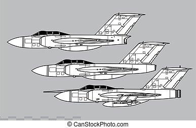 アウトライン, javelin., ベクトル, 図画, gloster