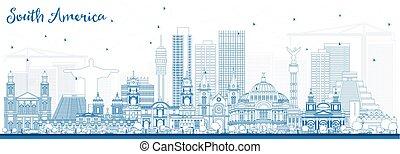 アウトライン, landmarks., 有名, スカイライン, アメリカ, 南