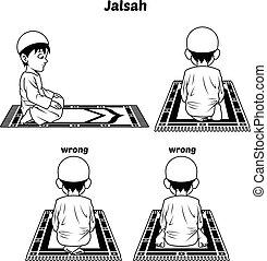 アウトライン, muslim, jalsah, 祈とうポジション, ガイド