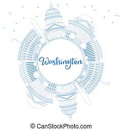 アウトライン, washington d.c., スカイライン, ∥で∥, 青, 建物, そして, コピー, space.