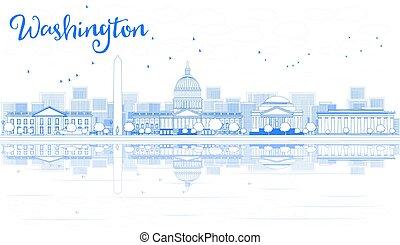 アウトライン, washington d.c., スカイライン, ∥で∥, 青, 建物, そして, reflections.
