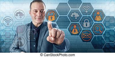 アクセス, ビジネスマン, 微笑, データ, 錠を開けること, 幸せ