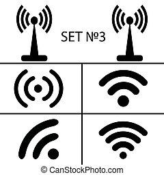 アクセス, 別, セット, リモート, eps10, アイコン, を経て, コミュニケーション, wifi, イラスト, 無線, ベクトル, 黒, 3., ラジオ, 14, waves.