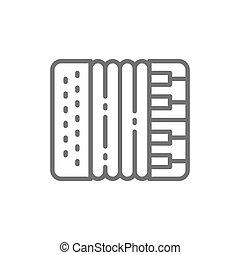 アコーディオン, ハーモニカ, 楽器, ベクトル, icon., 線