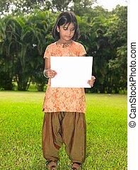 アジアの少女, 子供, ∥で∥, ブランク, プラカード