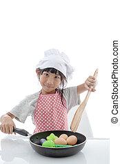 アジアの少女, 料理, 家で