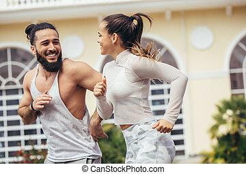 アジア人, から, 都市, 仕事, バックグラウンド。, 新しい, マンハッタン, コーカサス人, man., 屋外のカップル, 恋人, 動くこと, ヨーク, ランナー, 訓練, フィットしなさい, brooklyn, 多人種である, ジョッギング, フィットネス, 女, 外部。