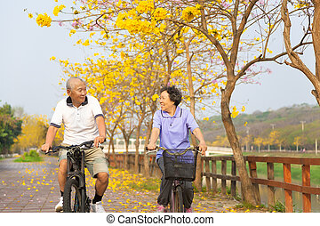アジア人, シニア, 幸せな カップル, 自転車の 乗車, 公園