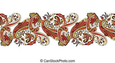 アジア人, ボーダー, デザイン, ペイズリー織, 伝統的である, seamless
