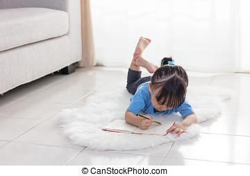 アジア人, 中国語, 女の子, 床の上に横たわる, 図画