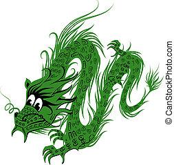 アジア人, 伝統, イラスト, ドラゴン