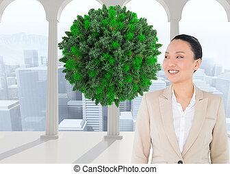 アジア人, 合成, 微笑, 女性実業家, イメージ