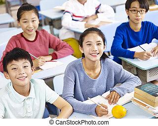 アジア人, 基本, 生徒, クラスで