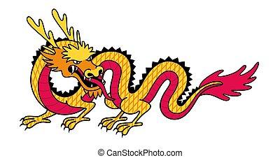 アジア人, 日本語, 漫画, dragon., ベクトル, 伝統的である, creature., mythological, イラスト