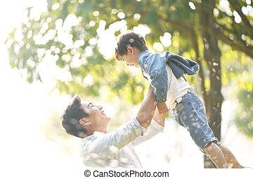アジア人, 父, 幸せ, 息子