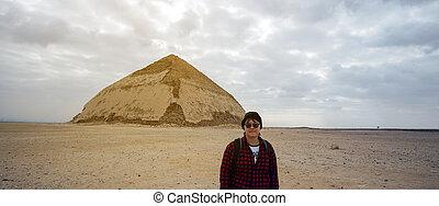 アジア人, 目的地, エジプト, saqqara, 旅行, ピラミッド, 建築, 観光客, 旅行, 曲がった