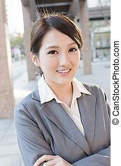 アジア人, 肖像画, 女性ビジネス, かなり, 若い