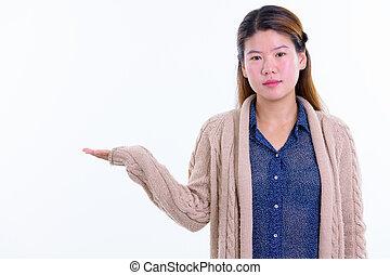 アジア人, 若い, 提示, 準備ができた, 冬, 何か, 美しい女性