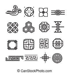 アジア人, 装飾, アイコン, 韓国語, 中国語, 日本語, ベクトル, セット