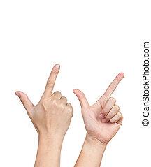 アジア人, 2, 手, 活動中, 白, 背景