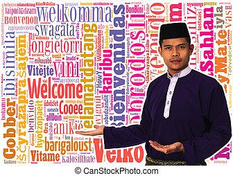 アジア人, muslim, マレ, ∥で∥, 伝統的である, マライ人, 衣装, 中に, プレゼント, 歓迎, 概念, 単語, 中に, 多数, 言語, の, ∥, world.