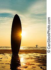 アジア, シルエット, ハンサム, 人, 日没, 彼の, サーフィンをしなさい, サーフィン, 海岸, サーフボード, time., 20s., モデル, 浜