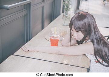 アジア 女性, 中に, コーヒーショップ