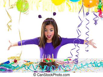 アジア 子供, 子供, 女の子, 中に, 誕生日パーティー