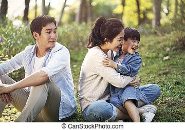 アジア 子供, 家族, 1(人・つ), 弛緩, 公園