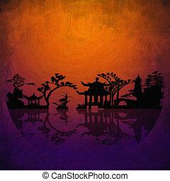 アジア, 風景, シルエット