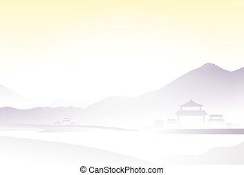 アジア, 風景, 陶磁器, 村, 山, ベクトル