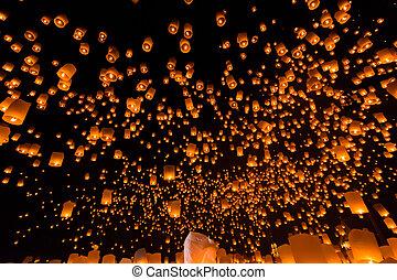 アジア, chiang mai, タイ, 浮く, 州, ランタン