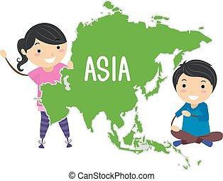 アジア, stickman, 子供, イラスト, 大陸