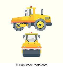 アスファルト, ペーバー, 機械, サイド光景, そして, 正面図