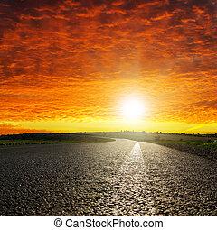 アスファルト, 上に, 劇的, 日没, 赤い道