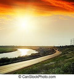 アスファルト, 上に, 日没, 赤, 川, 道
