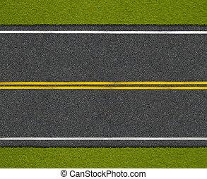 アスファルト, 上, ハイウェー, 路傍, 道, 光景