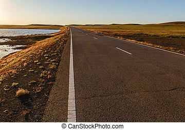 アスファルト, 湖, mongolian, 小さい, 前方へ, 道, ステップ