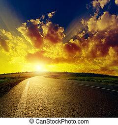 アスファルト, 素晴らしい, 日没, 上に, 道