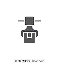 アセンプリ, 隔離された, シンボル, ロボティック, アイコン, ベクトル, 白い背景