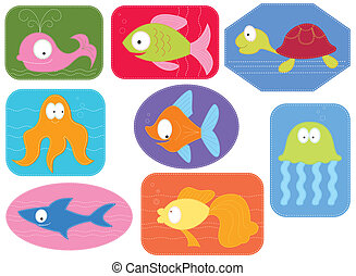 アップリケ, 水, 生地, 魚, ベクトル, animals., 漫画, 白