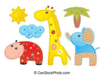 アップリケ, 'africa':, 象, カバ, キリン, 子供