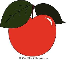 アップルの色, イラスト, ベクトル, 新たに, ∥あるいは∥, 赤