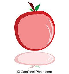 アップルの色, イラスト, ベクトル, 赤, vitamine