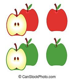 アップル, アップル, leaf., イラスト, apples., ベクトル, 緑, 半分, 赤