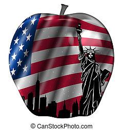 アップル, アメリカ, 大きい, 旗, スカイライン, ヨーク, 新しい
