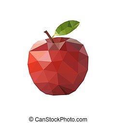 アップル, イラスト, polygonal, ベクトル, style., 赤