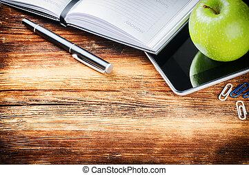 アップル, タブレット, デスクトップ, ペーパー, 緑, デジタル, 議題