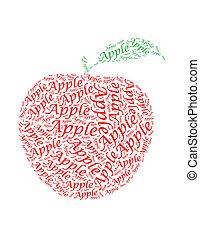 アップル, テキスト, コラージュ, 作曲された, 中に, ∥, 形, の, アップル