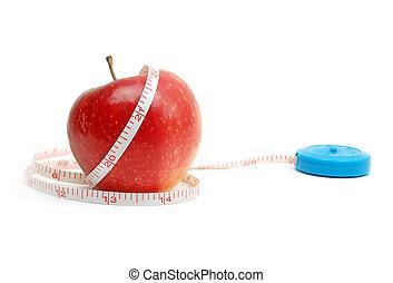 アップル, テープ, 背景, 新たに, 白い赤